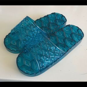 Shoes - Teal Jelly Slippers